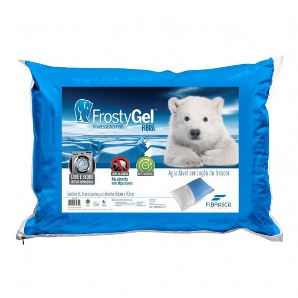 Travesseiro Frostygel Fibra 50x70 - Fibrasca - Azul