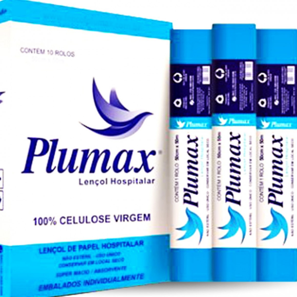 Lençol Hospitalar 100% Celulose Azul 70cm X 50m - Plumax