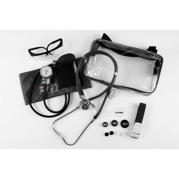 Kit Acadêmico Aparelho Pressão +  Estetoscópio Rappaport Com Bolsa Transparente – P.A. MED