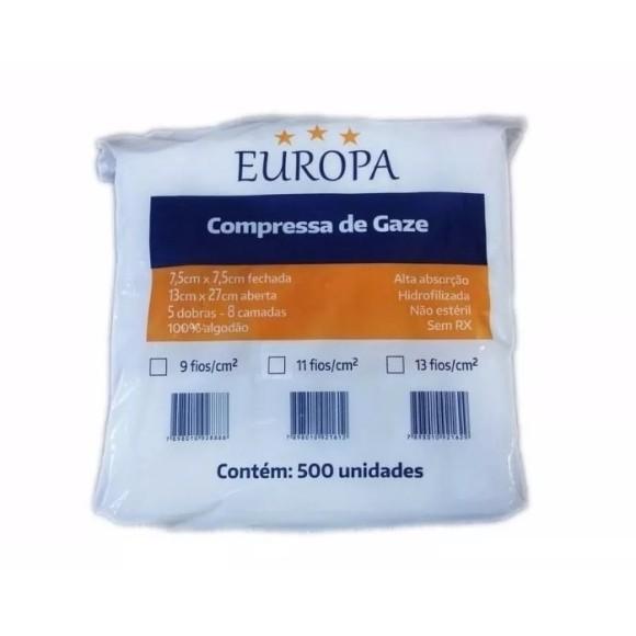 Compressa De Gaze 13 Fios Não Estéril - Europa